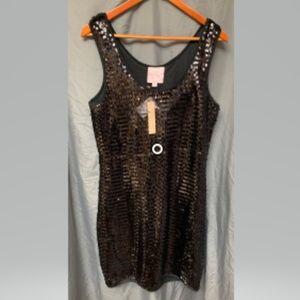 Romeo & Juliet Black Sequin Dress Large